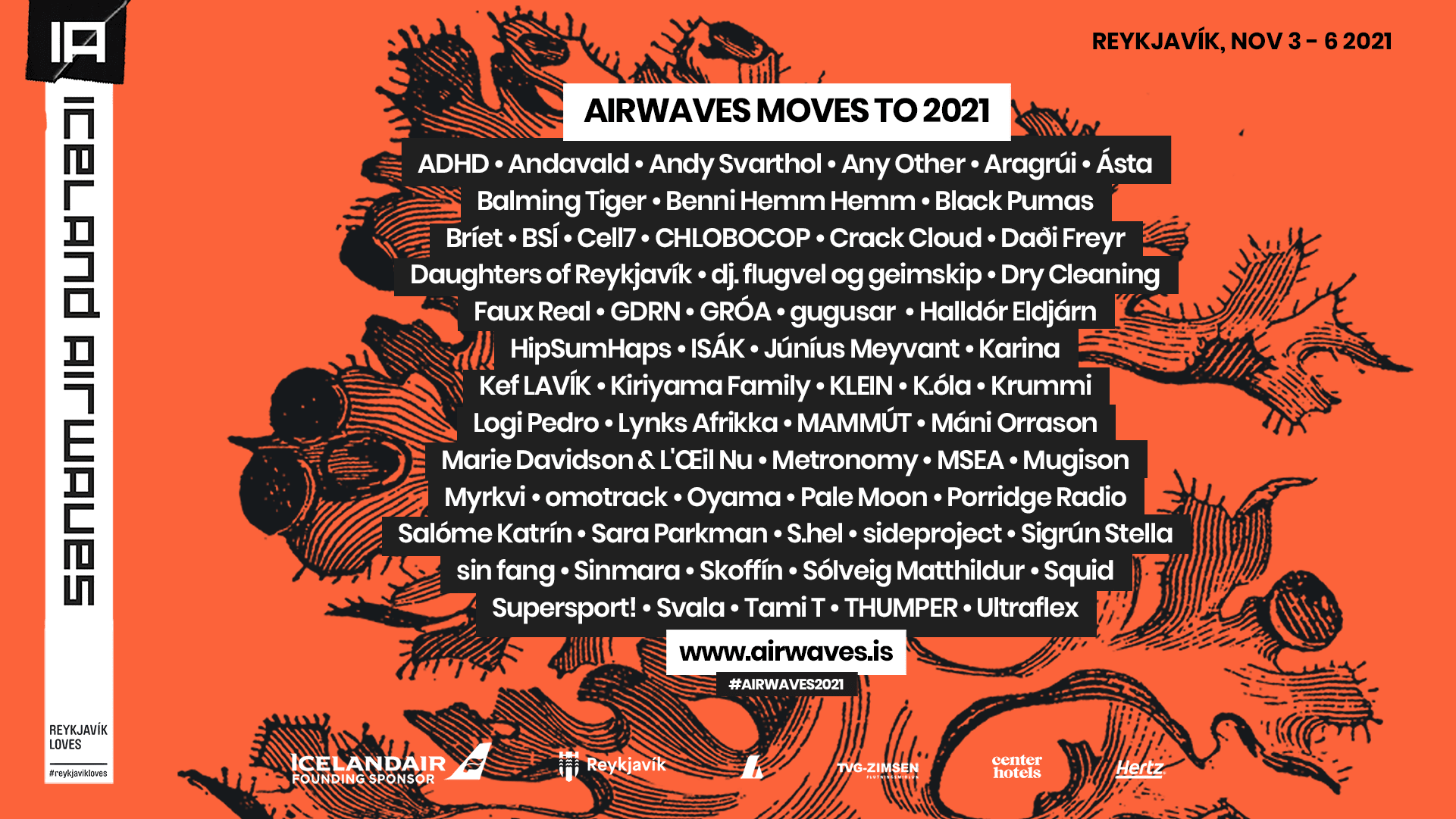 A graphic showing the lineup for Iceland Airwaves with all the musical act names displayed in text. View the full lineup in text format on the Airwaves website