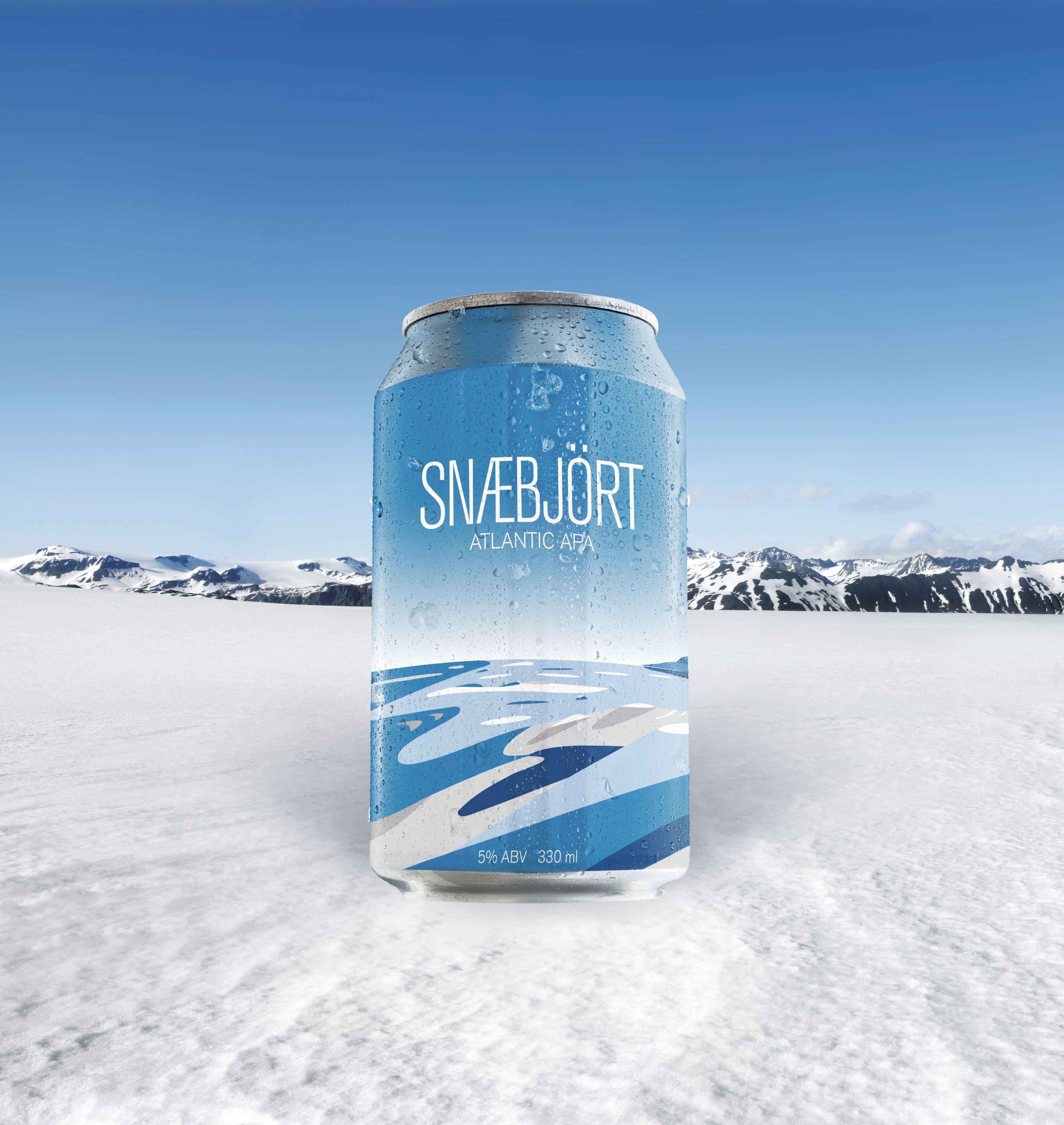 Snaebjort Icelandic beer pictured against a snowy landscape in Iceland