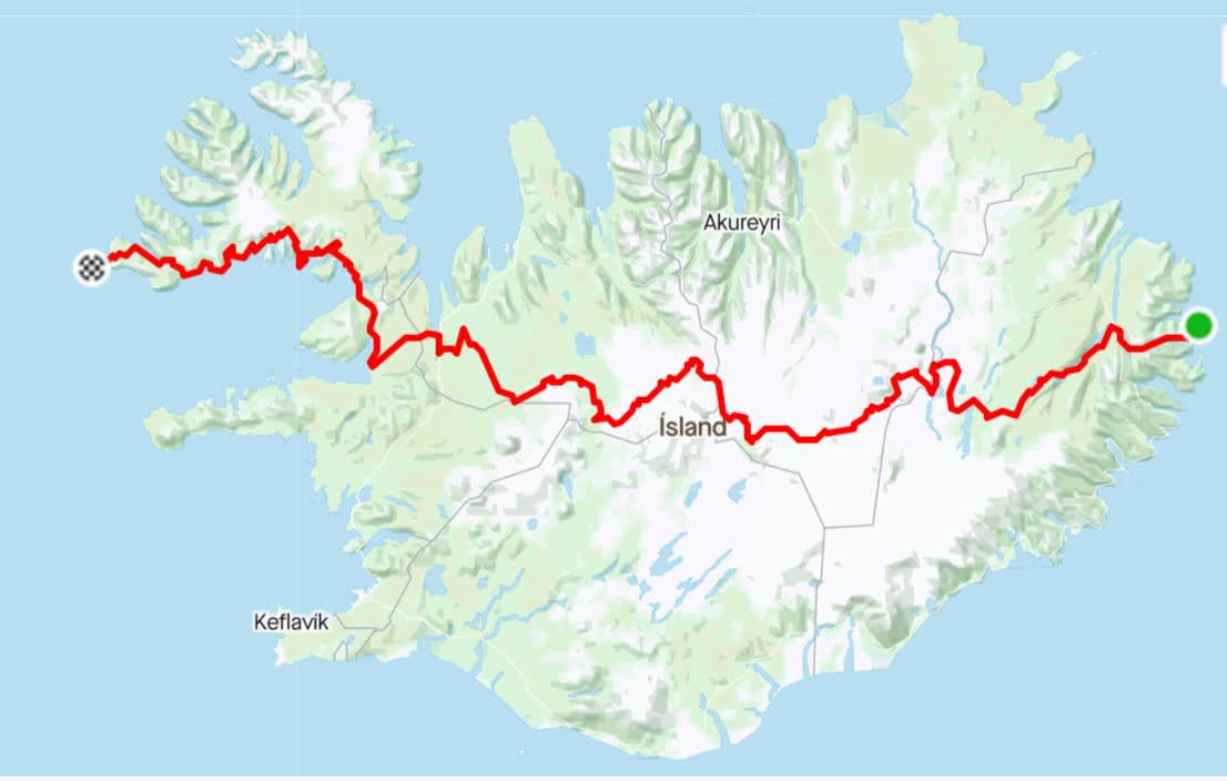 a map of Iceland with a route marked out in red that runs from the Westfjords in Iceland to the far East