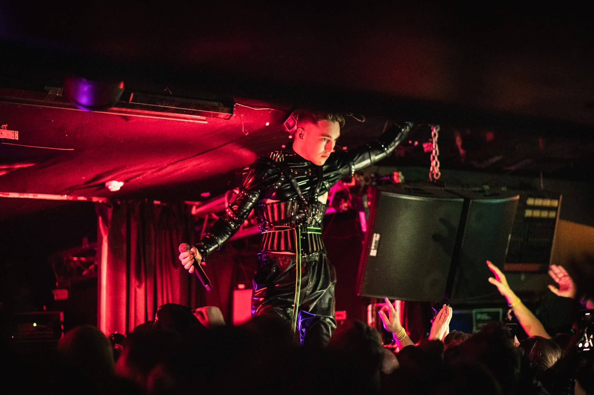 Icelandic artists, Hatari, performing to a lively crowd at Iceland Airwaves 2019
