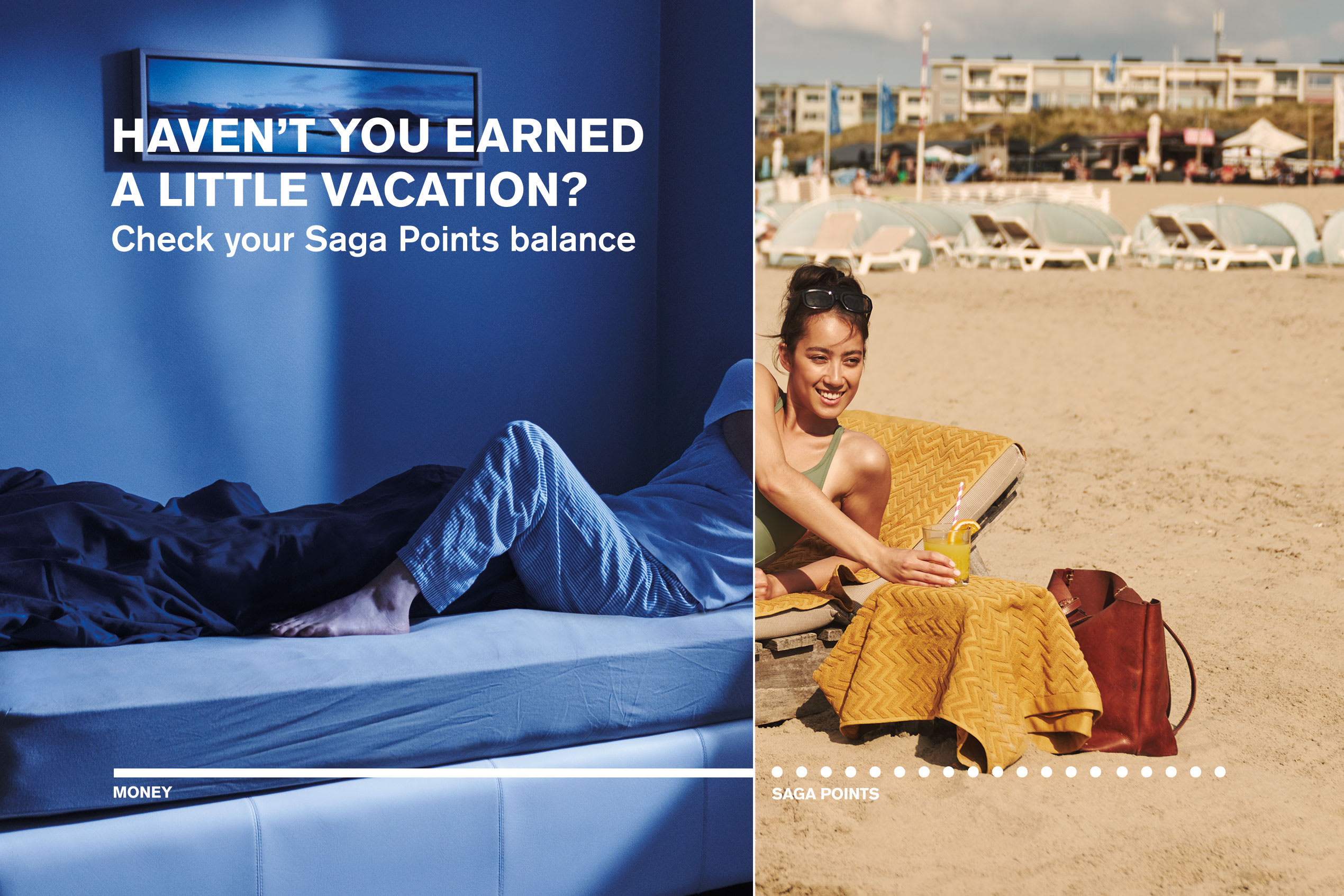 A woman pictured half in bed and half at the beach, with text overlay that reads 'Haven't you earned a little vacation?'