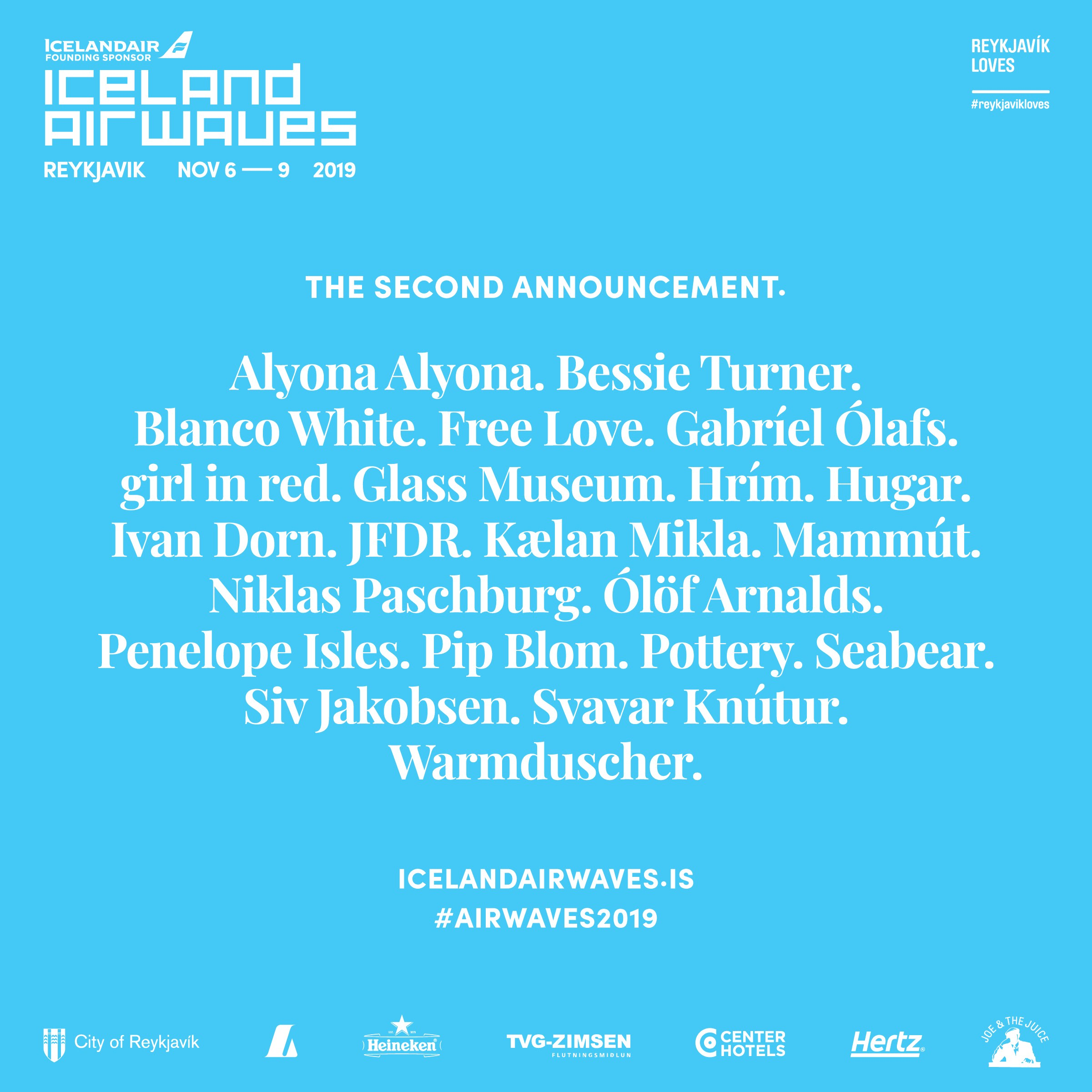 The second announcement and lineup poster for the Iceland Airwaves 2019 show