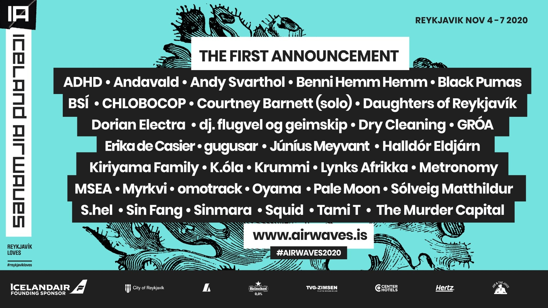 A poster displaying all of the acts which are scheduled to perform at the 2020 Iceland Airwaves event