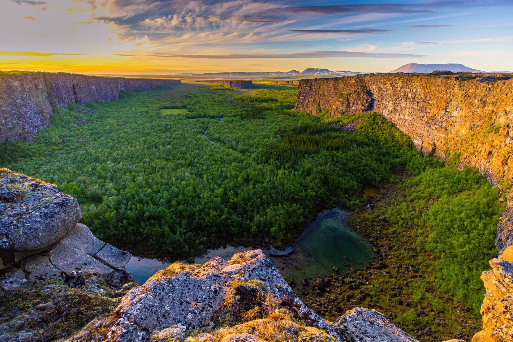 Asbyrgi canyon in North Iceland, the horseshoe shaped canyon, pictured on a bright summers day