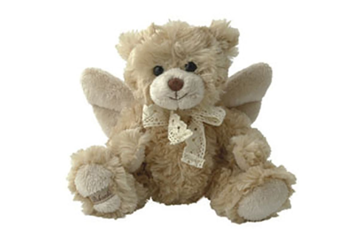 A light cream teddy bear called a Special Angel, wearing wings and a bow tie, pictured against a white background