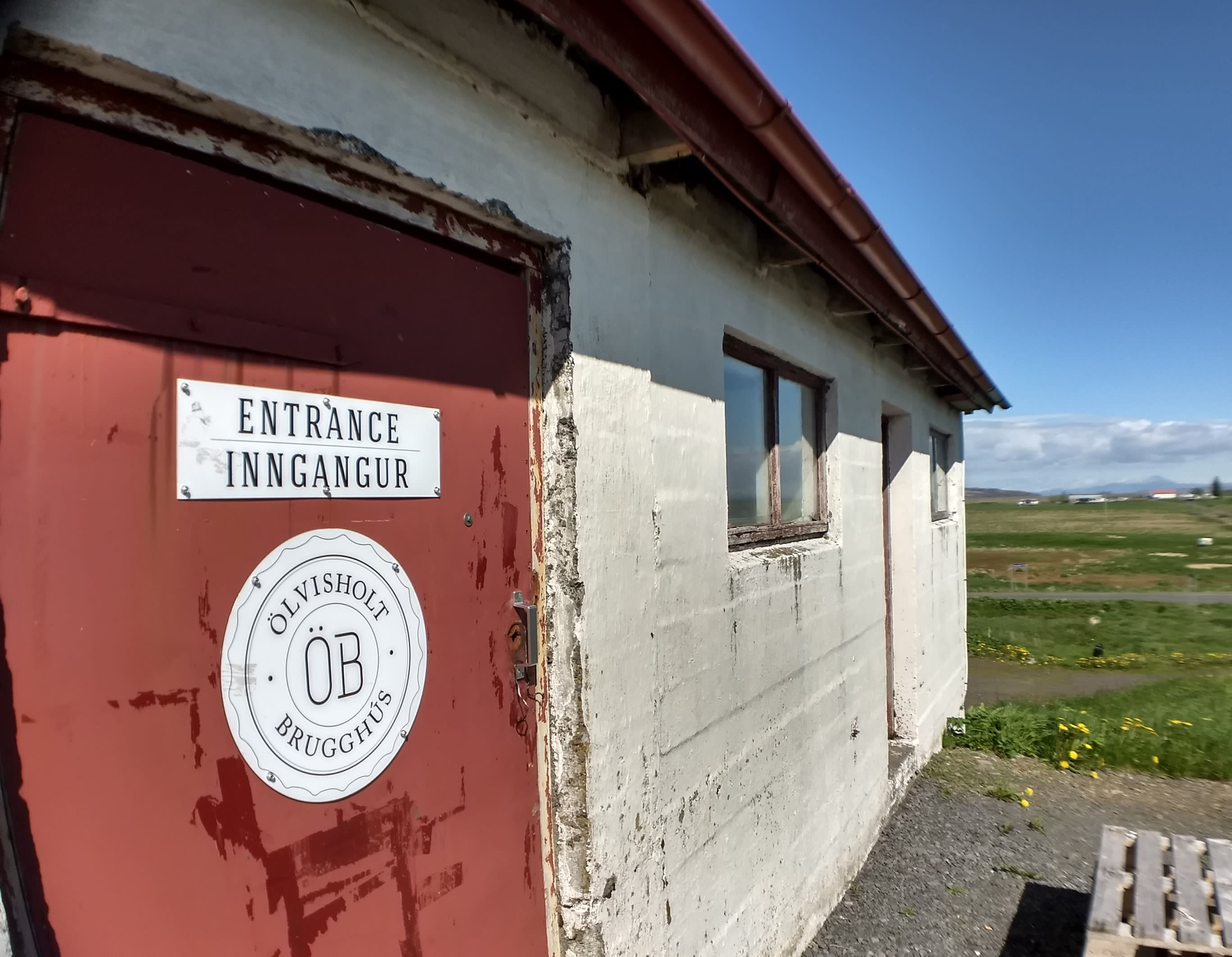 The entrance to Olvisholt dairy farm, located near Selfoss in Iceland