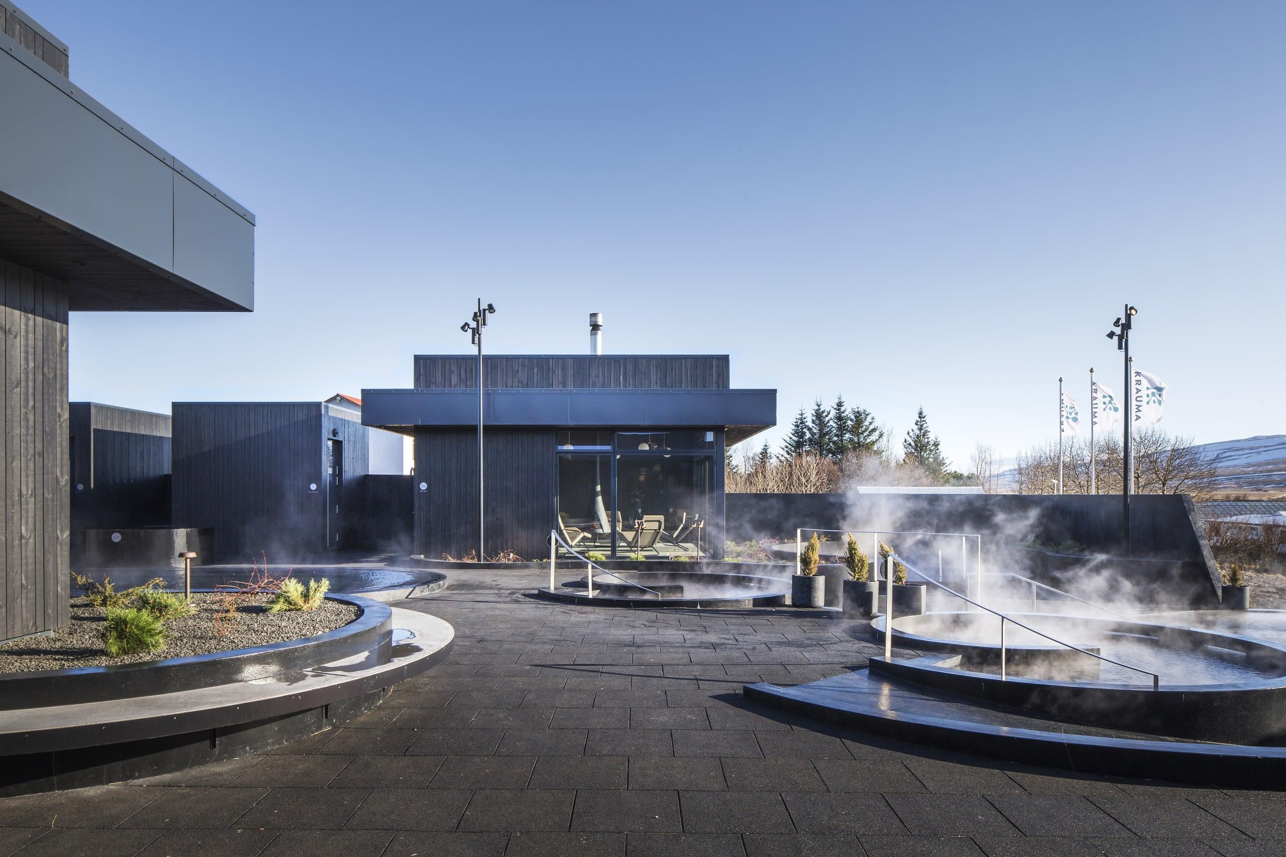 Krauma spa in the West of Iceland with several steaming hot pools to choose from