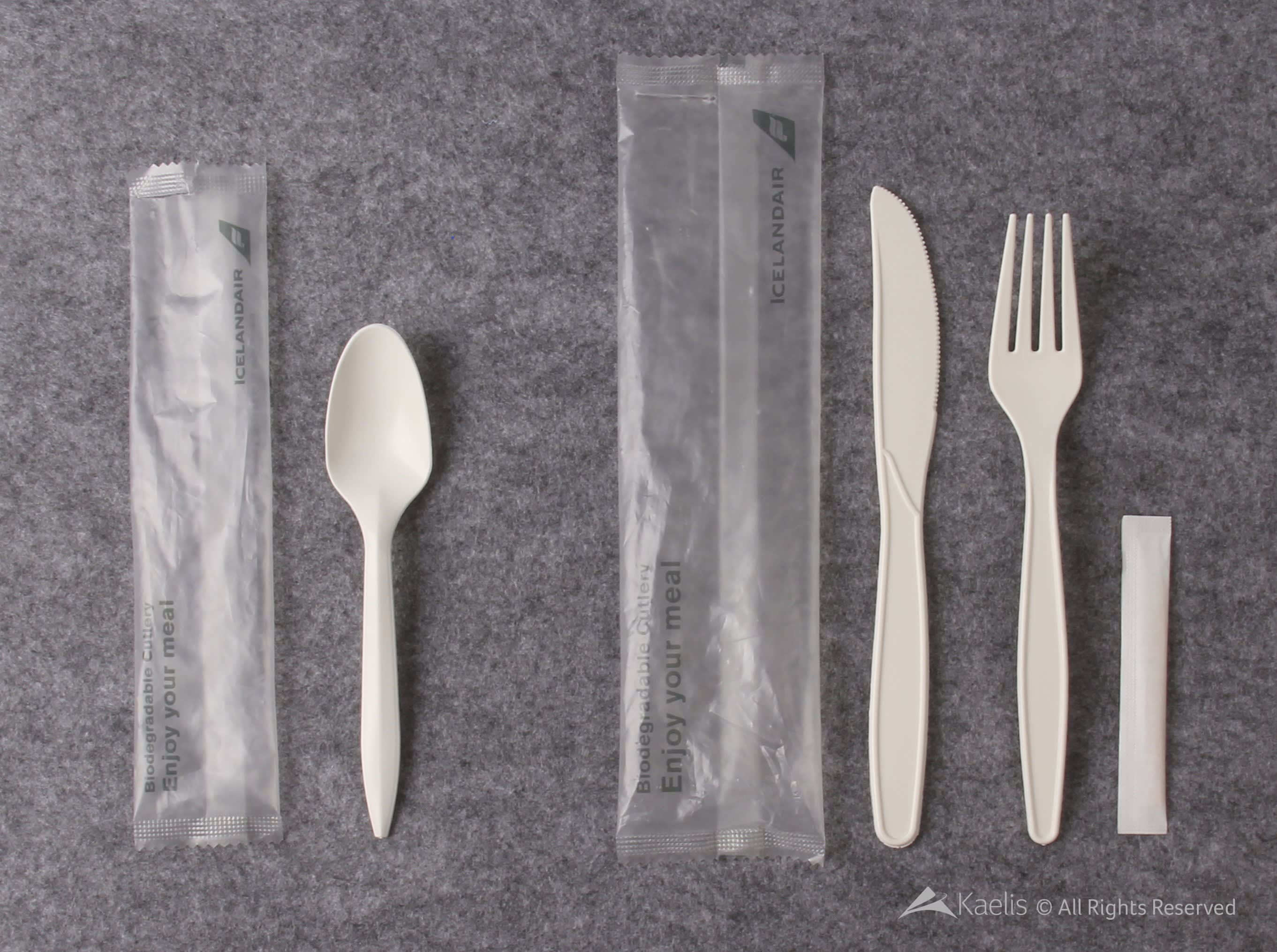 Icelandair onboard biodegradable cutlery - a spoon, fork, knife and toothpick - pictured against a grey background