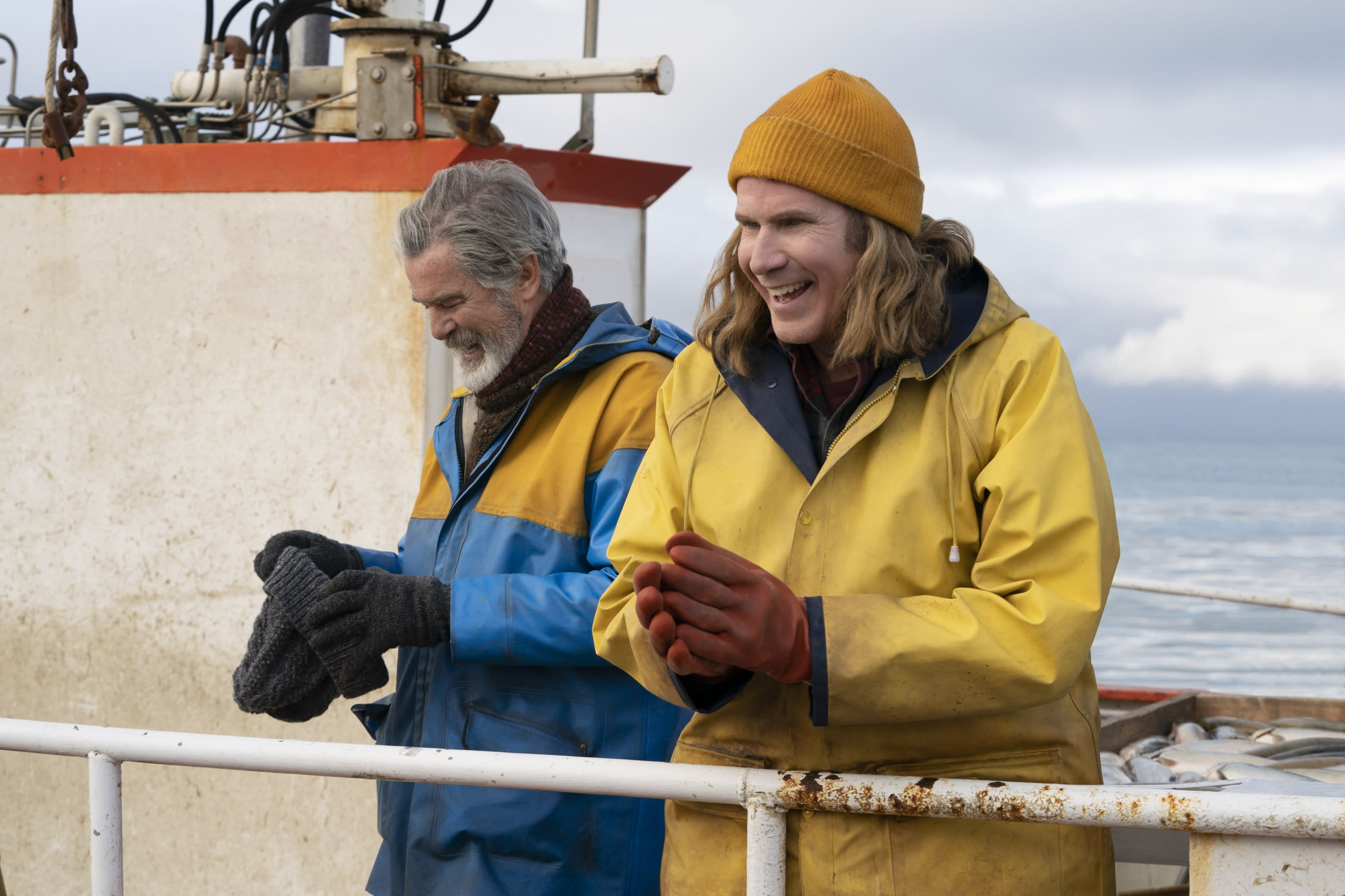 Will Ferrell pictured dressed as a fisherman onboard a fishing ship in Iceland