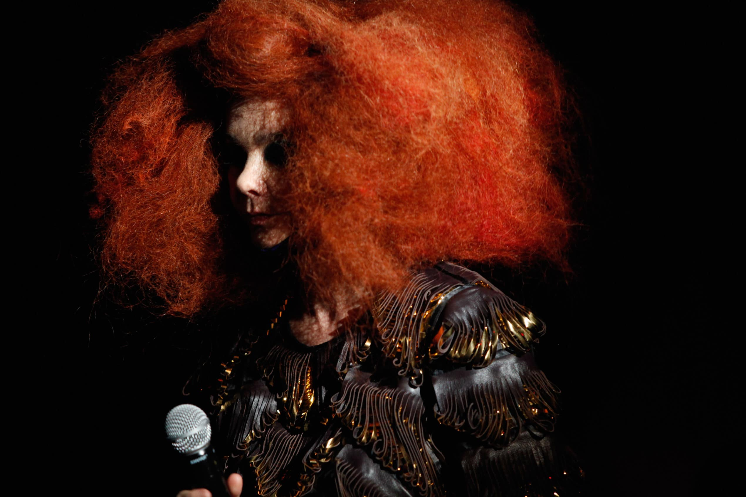 bjork pictured with a bright red hair style, wearing a black and gold jacket and facing side-on to the camera in a dark room