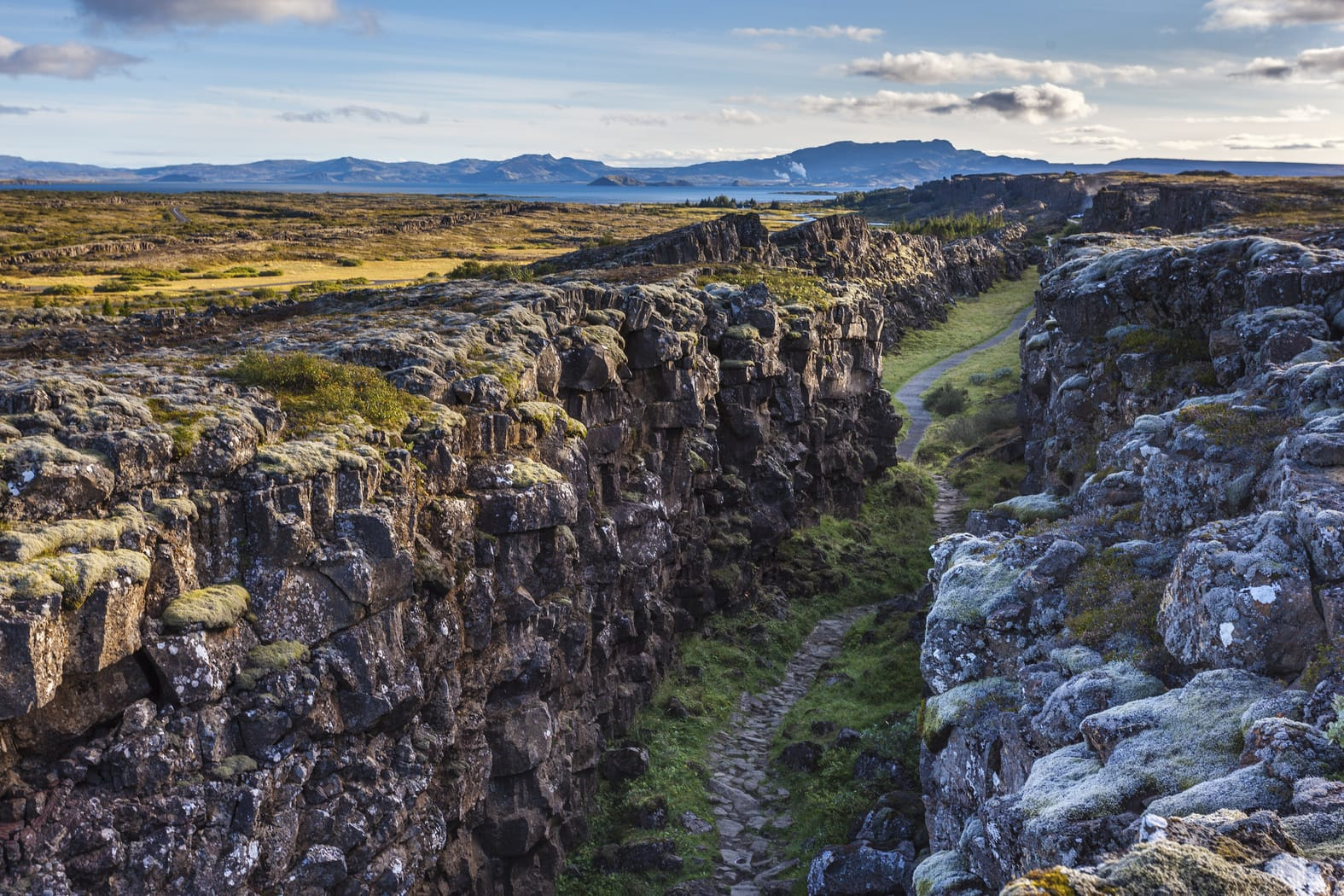 The spot where two tectonic plates meet, at Thingvellir in Iceland