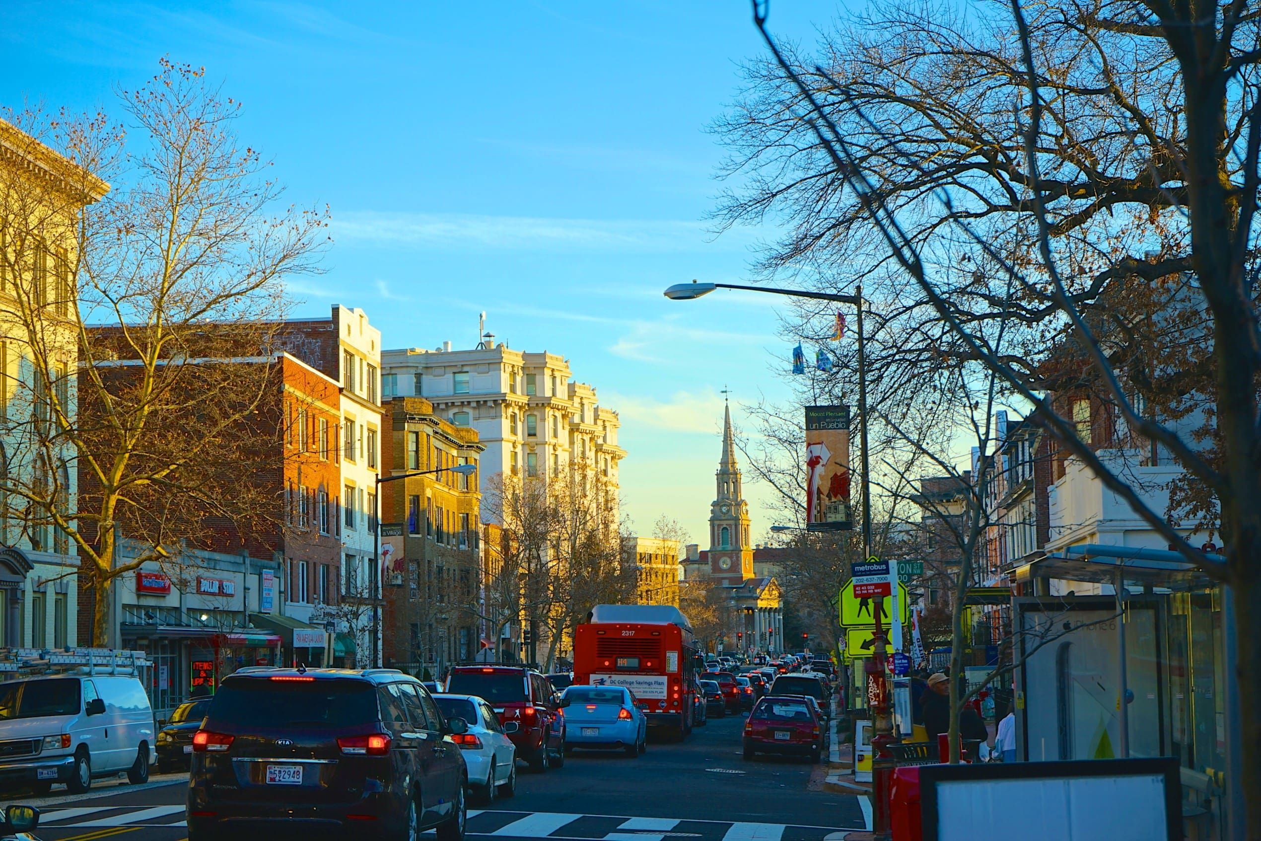 a view of Mount Pleasant in Washington DC, as seen from the street level