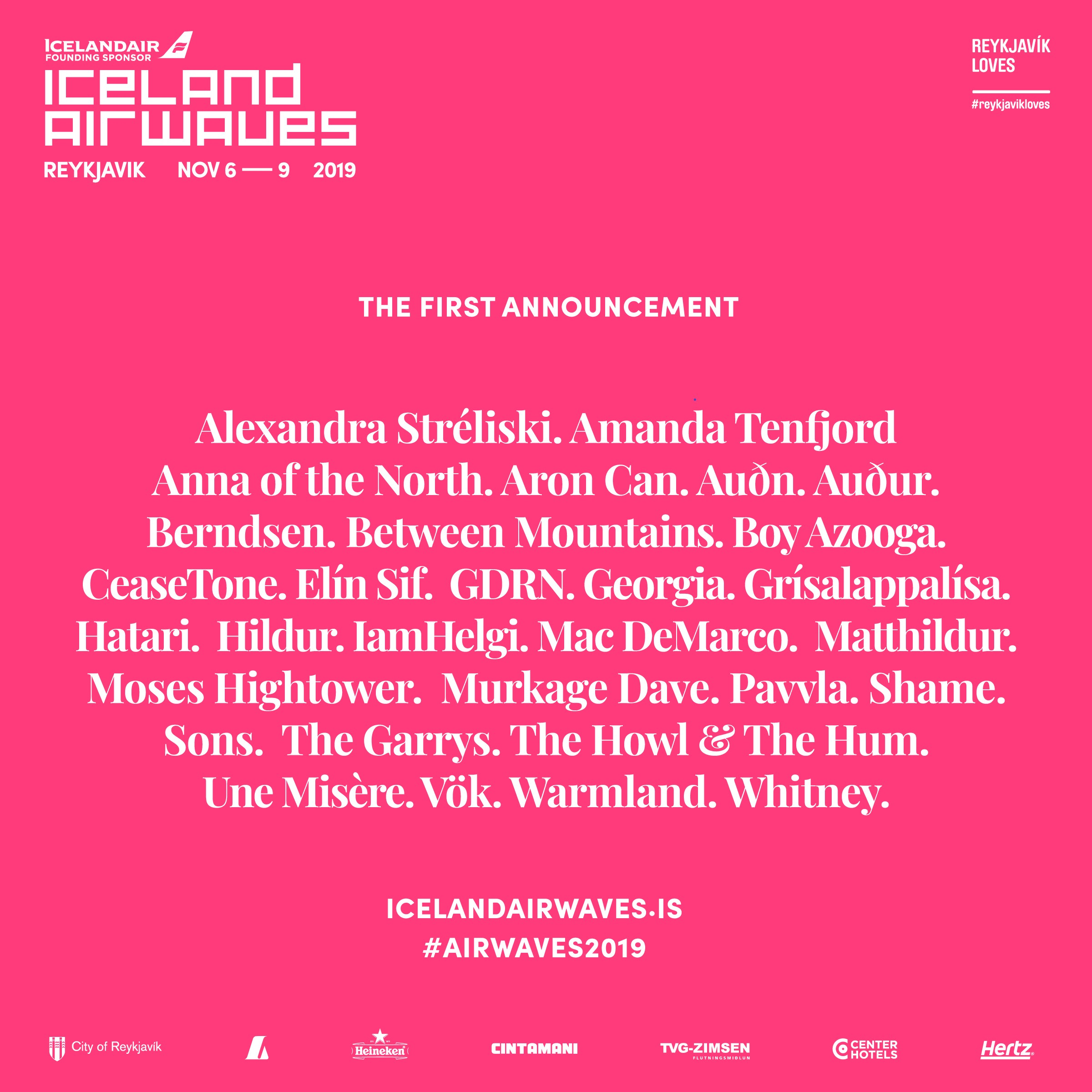 The first announcement and lineup poster for the Iceland Airwaves 2019 show