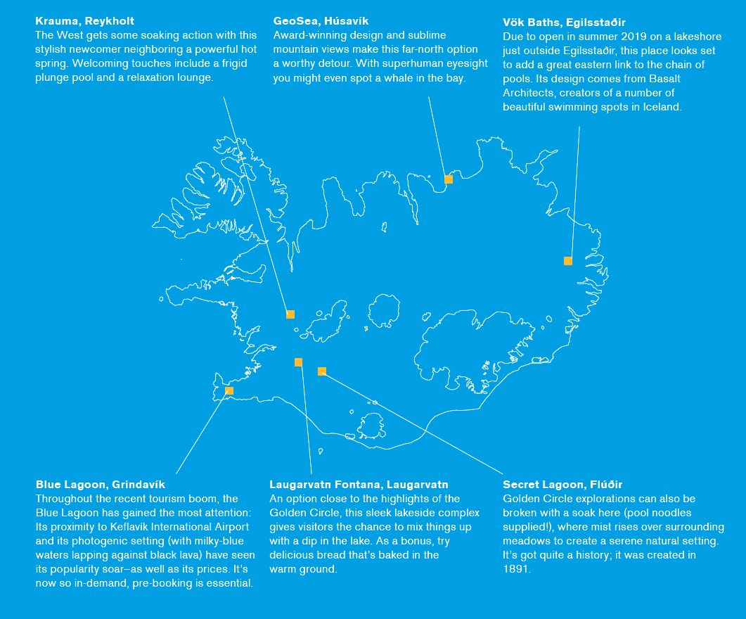 A map of many of the spas in Iceland, including Krauma, Blue Lagoon, Laugarvatn, Secret Lagoon, Vok Baths, and GeoSea
